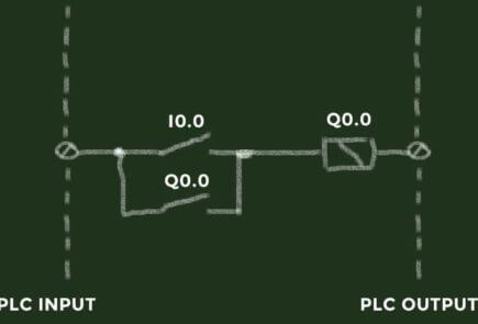 Latching a relay or a PLC output with a normally open contact.